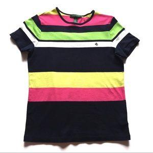 ❤️ Ralph Lauren Neon Striped Tee Shirt